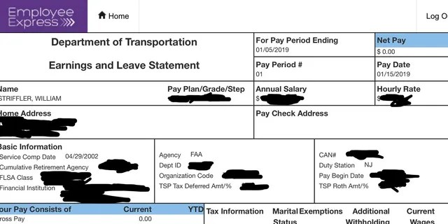 This portion of Bill Striffler's electronic pay stub, provided by him to the Associated Press on Friday, Jan. 11, 2019, with portions blacked out by him, shows his recent pay to be $0.00 for his work as an air traffic controller at Newark Liberty International Airport in New Jersey. (Associated Press)