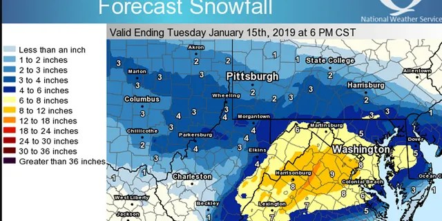 Between 5 to 10 inches of snow is expected to fall in the Mid-Atlantic on Sunday.