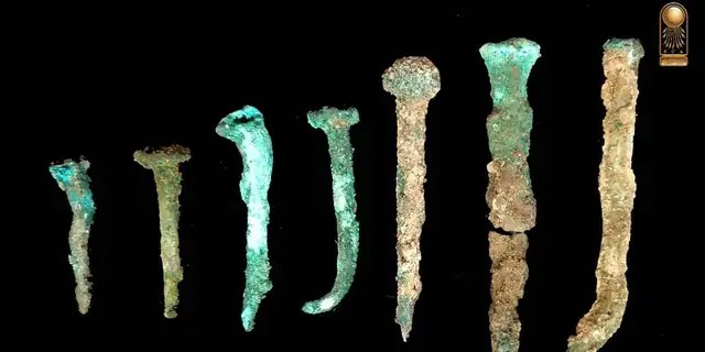 Ancient nails discovered at the site in Northern Sinai.