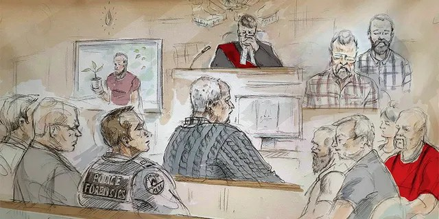 In this artist's sketch, serial killer Bruce McArthur, center, attends his sentencing hearing in Toronto on Monday.