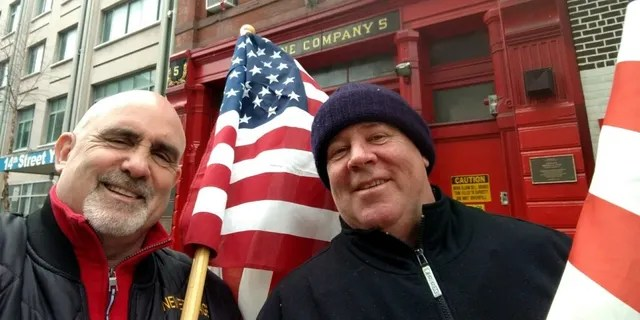 Chris Edwards, left, and Tom Lonegan, right, are retired New York City firefighters who responded to the 9-11 terrorist attack. They said they wanted to honor the American flag after seeing someone vandalize it.