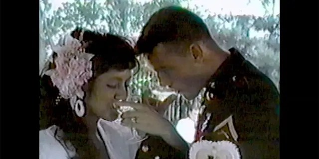 Lorena and John Wayne Bobbitt on their wedding day.