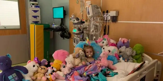 """Xydias said her daughter finds comfort in her stuffed animals, especially when she is trying to hide """"from anyone in scrubs."""""""