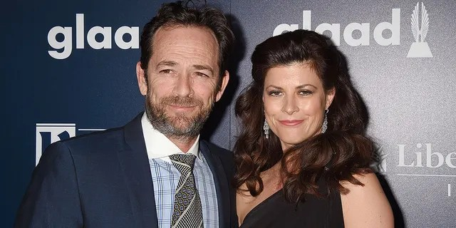 Luke Perry and fiancée Wendy Madison Bauer at the GLAAD Media Awards in April 2017.
