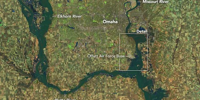 The flooding in Nebraska can be seen in this satellite photo from March 16.