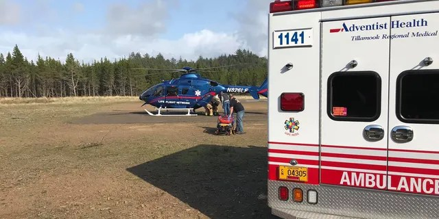 "The woman who was ""crushed"" by the log was later flown to a Portland hospital after sustaining serious injuries."