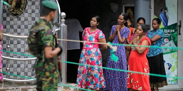 A Sri Lankan police commando secures the area of exploded St. Anthony's Church on Easter Sunday attacks in Colombo, Sri Lanka, Sunday, April 28, 2019. Sri Lanka's Catholics on Sunday awoke to celebrate Mass in their homes by a televised broadcast as churches across the island nation shut over fears of militant attacks, a week after the Islamic State-claimed Easter suicide bombings.