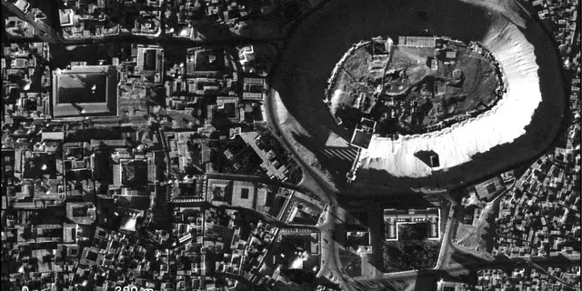 A high-resolution U2 photograph of the citadel in Aleppo, Syria, taken Nov. 19, 1959.