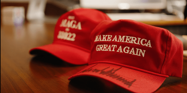 """The millionth """"MAGA"""" hat produced by the campaign since 2015. The campaign had Trump sign it, and plans to give it away as part of a contest. (Zach Trinca/Fox News)."""