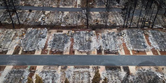 This Dec. 3 photo shows homes leveled by the Camp Fire line the Ridgewood Mobile Home Park retirement community in Paradise, Calif. (AP Photo/Noah Berger, File)