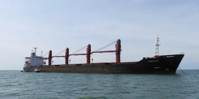 This undated photo released by the U.S. Justice Dept, Thursday, May 9, 2019, shows the North Korean cargo ship Wise Honest. The Trump administration says it has seized a North Korean cargo ship that U.S. officials say was used to transport coal in violation of international sanctions.