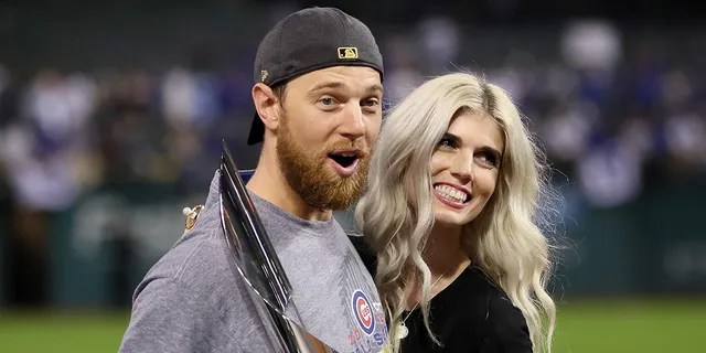 2016 World Series MVP Ben Zobrist #18 of the Chicago Cubs celebrates with his wife Julianna Zobrist after defeating the Cleveland Indians 8-7 in Game Seven of the 2016 World Series at Progressive Field on November 2, 2016 in Cleveland. (Photo by Ezra Shaw/Getty Images)