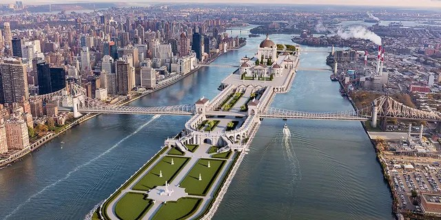 A 3D rendering of the Roosevelt Island civic center design. (Barratt Homes)