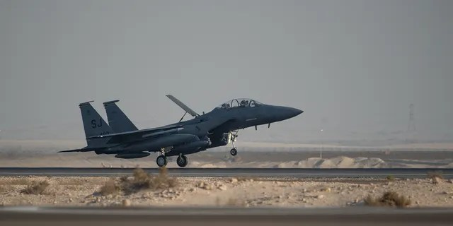 An F-15E Strike Eagle deployed from the 4th Fighter Wing at Seymour Johnson Air Force Base, North Carolina, lands at Al Dhafra Air Base, United Arab Emirates, June 14, 2019. F-15E's are designed to perform in air-to-air and air-to ground operations in any environment.