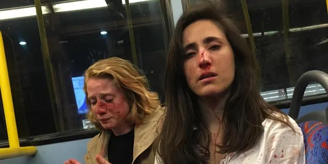 Melania Geymonat, 28, (right) originally from Uruguay, was riding the bus with her girlfriend Chris (left) after an evening out in West Hampstead, London, in the early hours of Thursday, May 30.