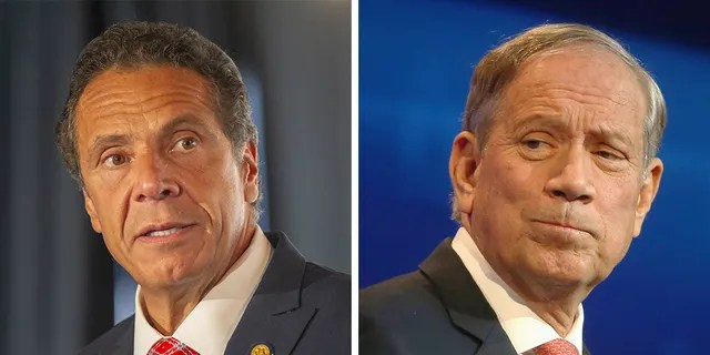 New York Gov. Andrew Cuomo, left, has drawn some sharp criticism from a Republican predecessor, former Gov. George Pataki.