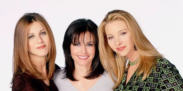 """From left to right: Jennifer Aniston, Kourtney Cox and Lisa Kudrow in a press photo for """"Friends""""."""