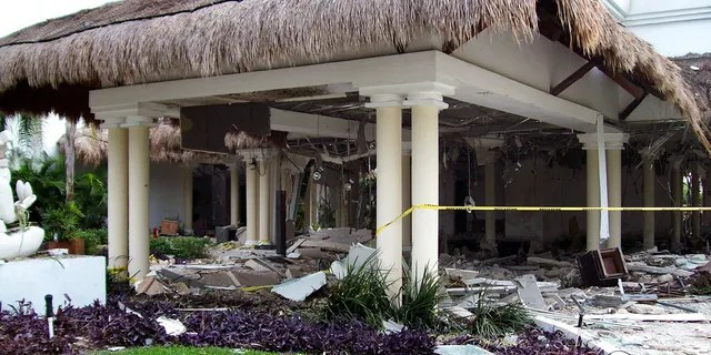 Debris are seen scattered at the Grand Riviera Princess Hotel in Playa del Carmen, Quintana Roo state, Mexico.