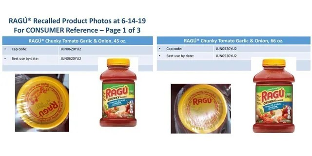 Varieties of Ragú pasta sauce were under a voluntary recall over concerns there may be fragments of plastic inside.