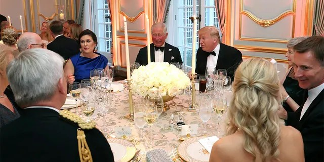 President Trump, s Prince Charles and White House Press Secretary Sarah Sanders during the return dinner at Winfield House.