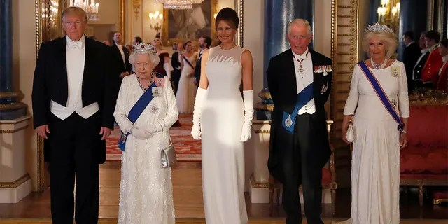 From left, President Trump, Queen Elizabeth II, first lady Melania Trump, Prince Charles and Camilla on Monday.