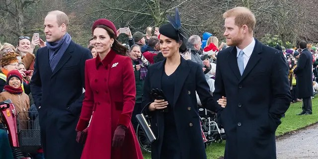 Prince William, The Duke of Cambridge, Catherine, The Duchess of Cambridge, Meghan, The Duchess of Sussex and Prince Harry, The Duke of Sussex attend the Christmas Day service on December 25, 2018