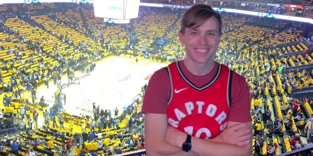 Eric George, a Toronto Raptors fan from Melbourne, Australia, traveled to Oakland for Game 4 of the NBA Finals.