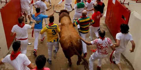 Revellers and a fighting bull arrive at the bullring during the running of the bulls at the San Fermin Festival, in Pamplona, northern Spain, Sunday, July 14, 2019.