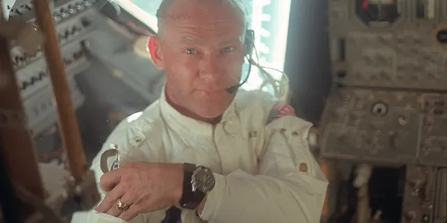 "This July 20, 1969 photo made available by NASA shows pilot Edwin ""Buzz"" Aldrin in the Apollo 11 Lunar Module. For the 50th anniversary of the landing, Omega issued a limited edition Speedmaster watch, a tribute to the one that Aldrin wore to the moon."
