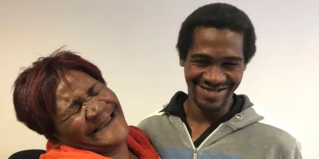 Jane Daniels, a pensioner in Delft, near Cape Town, is reunited with her son Denzil after he disappeared six years ago