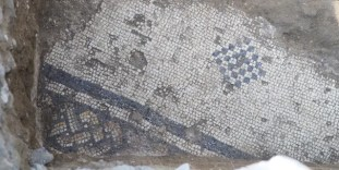 Archaeologists uncovered the mosaic floor of the Byzantine church at el-Araj.