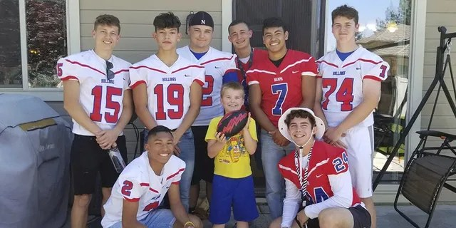 Nampa High School Football players and Christian Larsen at his birthday party.