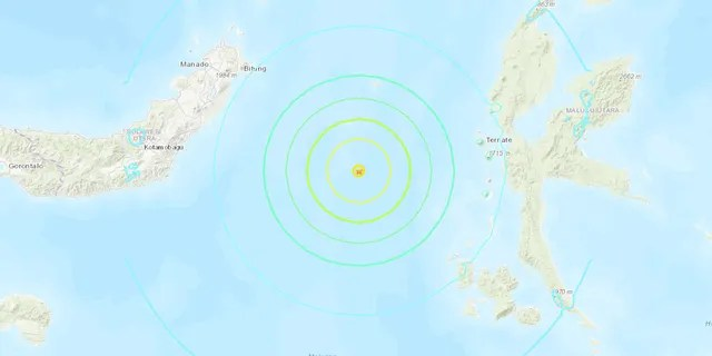 The 6.9 magnitude earthquake was centered about 114 miles southeast of Manado, Indonesia in the Molucca Sea at a depth of 15 miles, according to the USGS.