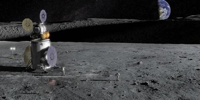 Artist's impression of the Artemis Lander on the lunar surface. (NASA)