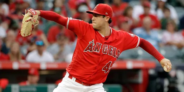 Tyler Skaggs during his final start against the Oakland Athletics Saturday. (AP Photo/Marcio Jose Sanchez)