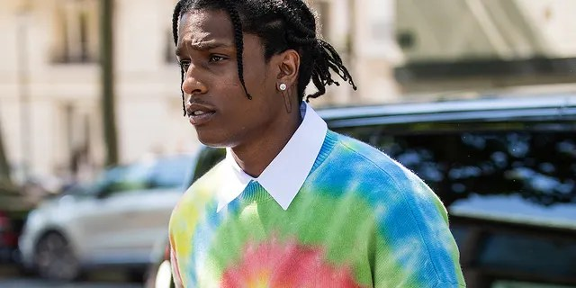 A$AP Rocky is seen wearing batik shirt outside Loewe during Paris Fashion Week - Menswear Spring/Summer 2020 on June 22, 2019 in Paris. A$AP Rocky was detained in Sweden after an alleged street fight.