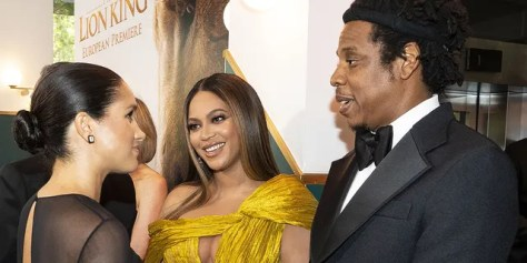"""Meghan, Duchess of Sussex meets Beyoncé and Jay-Z at the London premiere of """"The Lion King."""" Queen Bey voices Nala in the live-action adaptation of the Disney classic."""