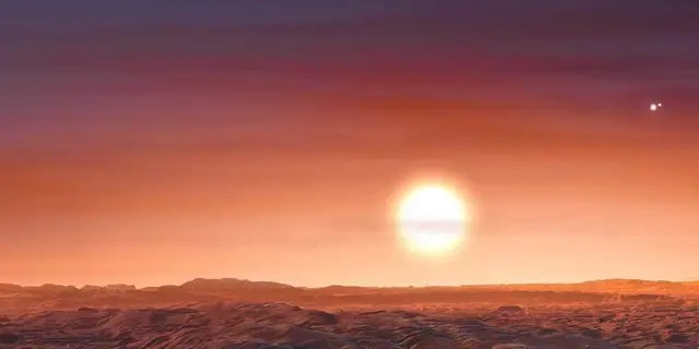 Artist's impression of Proxima b, which has three stars in its sky.