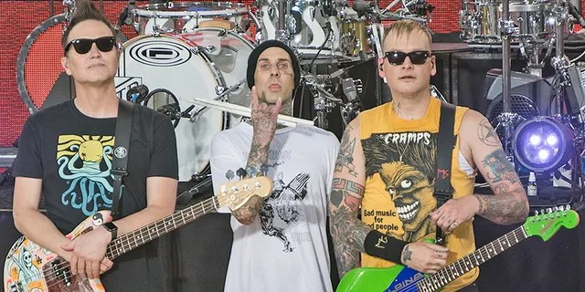 Mark Hoppus, Travis Barker and Matt Skiba of Blink-182 perform on ABC's 'Good Morning America' at Rumsey Playfield, Central Park on July 19, 2019 in New York City. The band dropped out of the disastrous Fyre Festival over technical concerns for their staging.