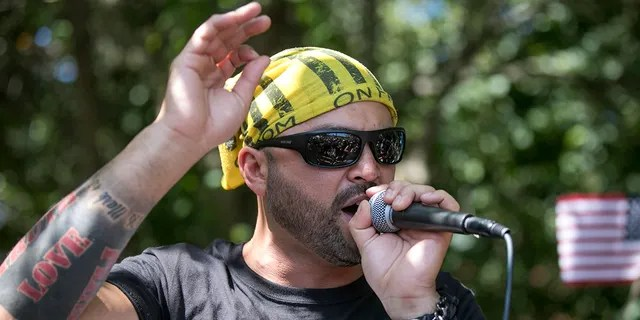 Patriot Prayer founder and rally organizer Joey Gibson speaks to his followers at a rally in Portland, Ore., Aug. 4, 2018. (Associated Press)