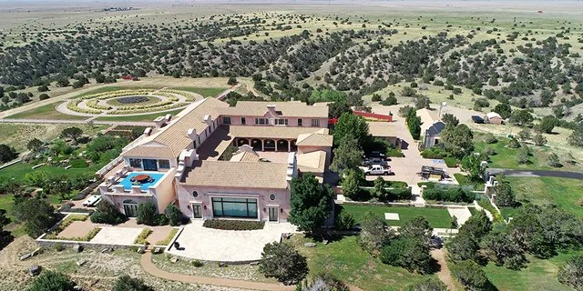 Zorro Ranch, one of the properties of financier Jeffrey Epstein, seen in an aerial view near Stanley, N.M.