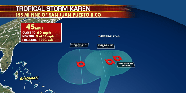 The forecast track of Tropical Storm Karen is not fully known after this weekend.