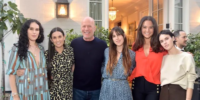 From left: Rumer Willis, Demi Moore, Bruce Willis, Scout Willis, Emma Heming Willis and Tallulah Willis attend Demi Moore's 'Inside Out' party on Monday in L.A. (Photo by Stefanie Keenan/Getty Images for goop)