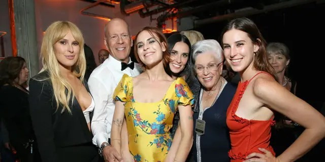 From l-r: Rumer Willis, Bruce Willis, Tallulah Belle Willis, Demi Moore, Marlene Willis and Scout LaRue Willis attend the after party for the Comedy Central Roast of Bruce Willis at NeueHouse on July 14, 2018 in Los Angeles, California.