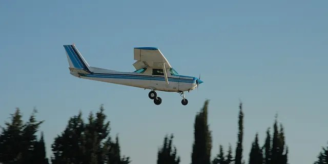 A Cessna 152 lowers toward the ground. Max Sylvester was forced to make an emergency landing on Saturday afternoon after his flight instructor, Robert Mollard blacked out mid-flight.