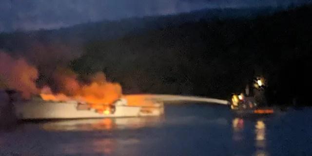 Fire officials said the Conception based in Santa Barbara Harbor was anchored off Santa Cruz Island when it caught fire around 3:30 a.m. Monday.