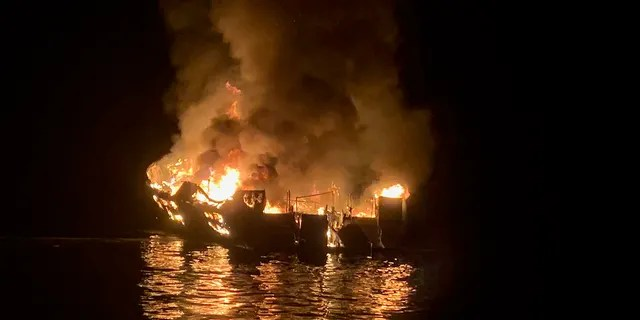 Multiple agencies responded after a commericial diving boat caught fire off Santa Cruz Island in California early Monday