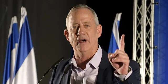 Benny Gantz, head of Blue and White party speaks at an election campaign event in Ramat Gan, Israel, on July 24, 2019. (Photo by Gili Yaari/NurPhoto via Getty Images)
