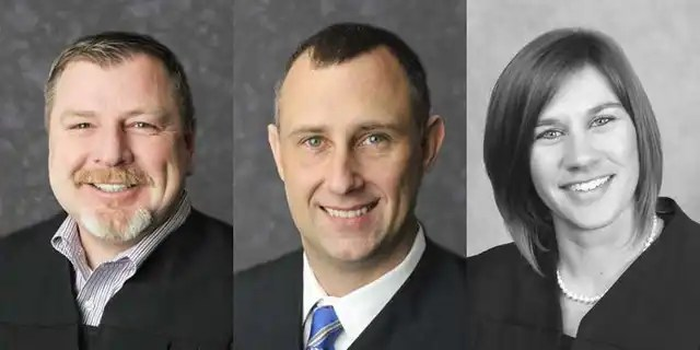 Judges Andrew Adams, left, Bradley Jacobs and Sabrina Bell have been suspended without pay, according to the Indiana Supreme Court. (Indiana Courts)