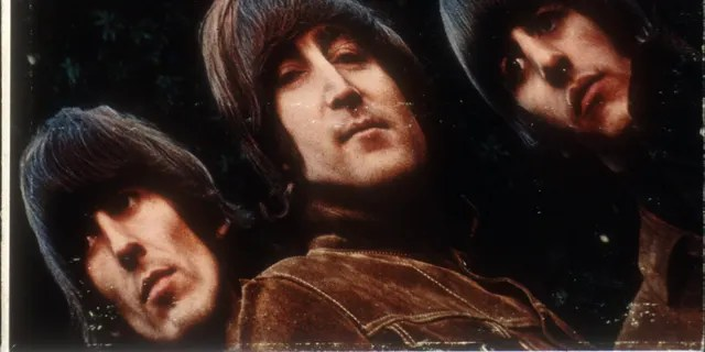 """Album cover for rock and roll band """"The Beatles"""" album entitled """"Rubber Soul"""" which was released on December 3, 1965. (L-R) George Harrison, John Lennon, Ringo Starr, Paul McCartney(Clockwise from bottom left) George Harrison, Paul McCartney, John Lennon, Ringo Starr. Photographed by Freeman."""